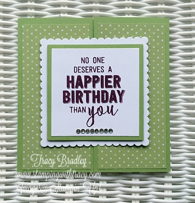 Happy Birthday Gate Fold Card Stamping With Tracy